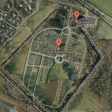luchtfoto van begraafplaats De Boskamp Assen